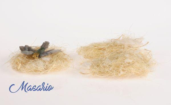 Nido de fibra natural con pelo de cabra(pájaro no incluido)