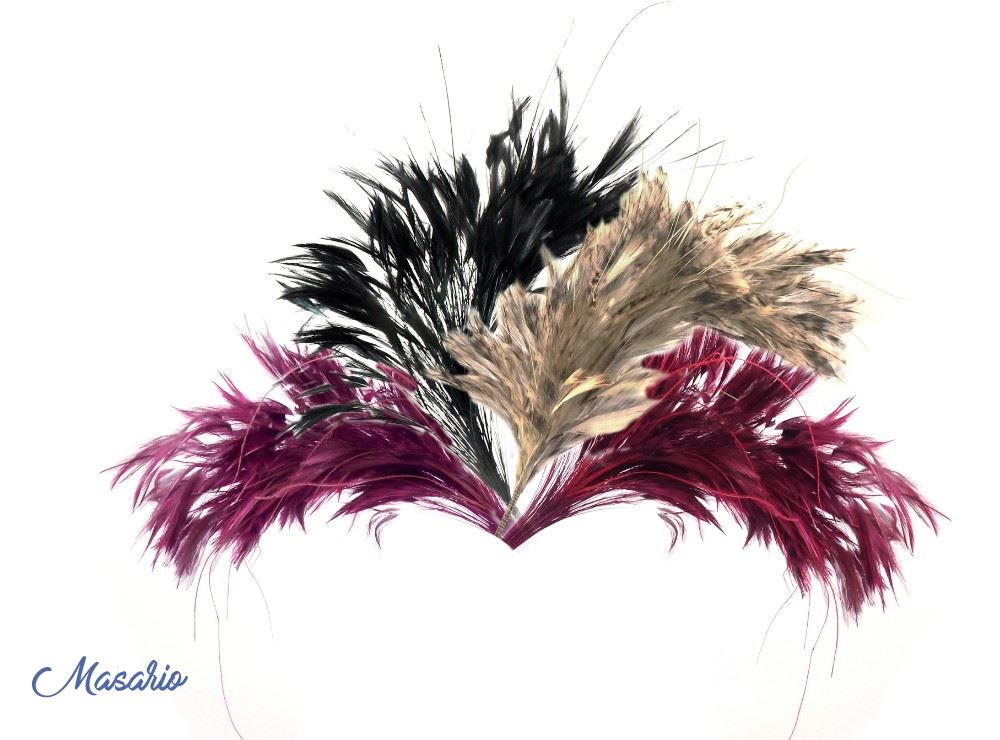 Pomo plumas cuello de gallo