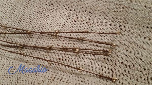 5 Ramas de alambre tapeado con pistilos metalicos 60 cm