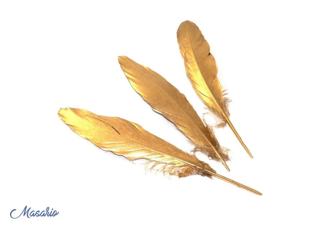 3 Plumas de Gallo Doradas de 20-25 cm aprox.