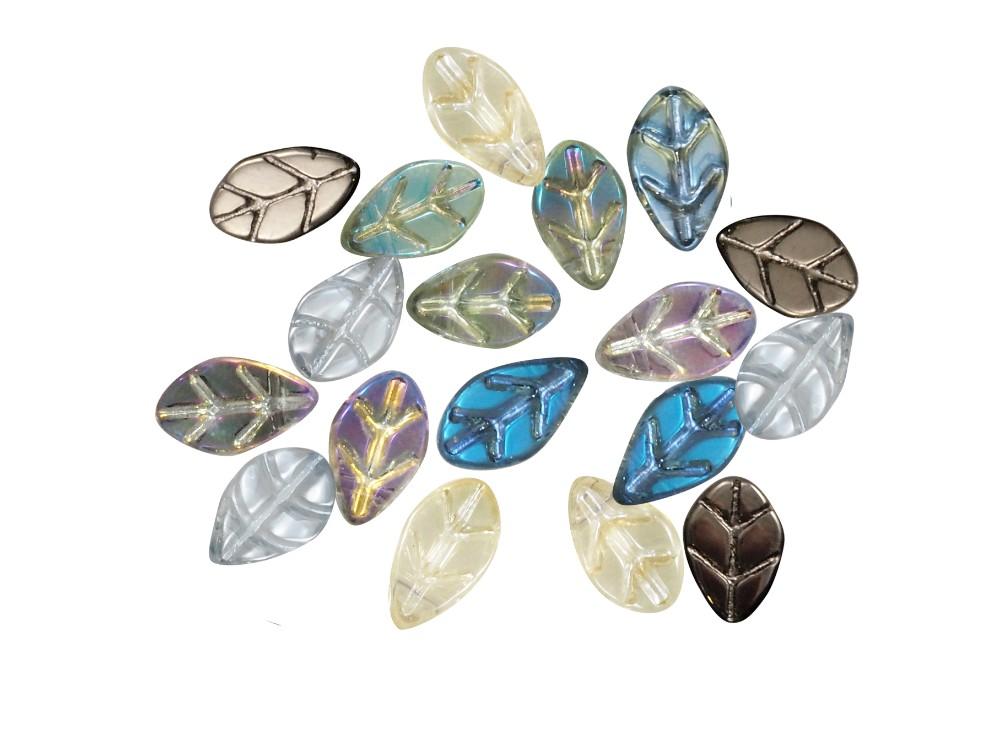 10 beads glass rosal leaf